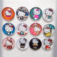 hello kitty charm bracelet toptan satış-20 adet Sevimli Noosa Snaps Hello Kitty Snap Düğmesi Takı Çocuklar Için Cam Yapış Düğmeler Zencefil Çırpıda Charm Bilezikler 18mm