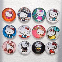 Wholesale Bracelet Charms For Kids - 20pcs Cute Noosa Snaps Hello Kitty Snap Button Jewelry Kids Glass Snap Buttons For Ginger Snap Charm Bracelets 18mm