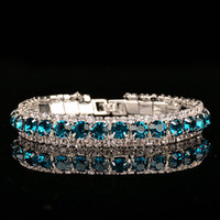 Wholesale Tennis Models Female - Europe and the United States jewelry fashion wild ladies crystal bracelet blue diamond jewelry female models