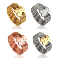 Wholesale Finger Top Ring Set - Top Titanium Steel Wire Cute Bear Ring for Women Rose Gold&Silver Lucky Bear Finger Ring