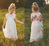 Wholesale Open Back Bow Flower - 2018 New Vintage Lace Bohemian Flower Girl Dresses Sheer Jewel Neck Ruffles Sleeveless Open Back Girls Formal Dress for Wedding with Bow