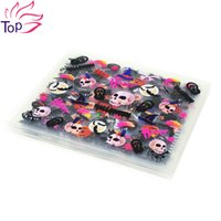 Wholesale Halloween Nail Stickers Skull - Wholesale- 24 Pcs Lot Halloween Design Beauty Nail Art Stickers Adhesive Transfer 3D Skull Pumpkin Stickers Decals For Nails Tips JH280