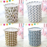 Wholesale Waterproof Storage Baskets - INS Waterproof Canvas Beam Laundry Basket Tree Bear Hedgehog Pattern Cotton Linen Washing Clothes Storage Basket Folding Storage Box