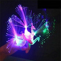 Creative Peacock LED Finger Ring Lights Beams Party Nightclub Bagues de couleurs Optical Fiber Lamp Enfants Enfants Cadeaux Party Supplies 3002055