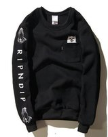 Wholesale Fleece Pocket - 2016 RIPNDIP men hoodie long sleeve harajuku hip hop hoodie sweatshirt pocket cat brand clothing autumn hoodies men