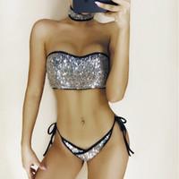 ingrosso bikini bandeau-Tanga Bikini Set oro argento paillettes costumi da bagno Sexy Bandeau Top Beach Girls Biquinis Glitter paillettes Bikini 2 pezzi