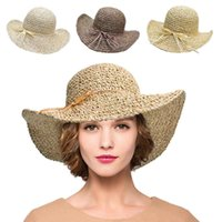 Wholesale Woman Hat Glitter - Lawliet Glitter Stylish Womens Straw Crocheted Sun Beach Crushable Wide Brim Sun Roll Up Hat T240