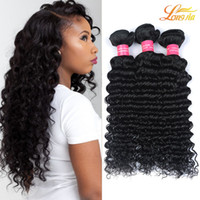 Wholesale Cheap High Quality Hair Extensions - Wholesale Brazilian Human Deep Wave Extension Natural Color Can Be Dyed Cheap Brazilian Virgin Hair Machine Double Weft High Quality