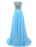 Wholesale China Winter Fashion - Prom Dresses Cheap 2017 Free Shipping Vestidos De Noche Largos Elegantes Blue Chiffon Long Evening Dresses Made in China