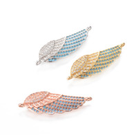 Wholesale Metal Wing Charms Diy - 3 Color Single angel Wing Charms micro pave CZ Metal Stamping Crafted Connector DIY Jewelry Supplies, ICSP124, Size 31.6*10.2mm
