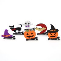 Wholesale Hair Clips Adults - Halloween Props Pumpkin Demon Hairpins Cartoon Animal Barrettes Bat Cat Hair Clips Baby Girls Adult Party Props
