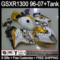 Wholesale Hayabusa Black Gloss Fairing - 8gift For SUZUKI Hayabusa GSXR1300 96 97 98 99 00 01 gloss golden 13MY114 GSXR 1300 GSX-R1300 GSX R1300 02 03 04 05 06 07 TOP black Fairing