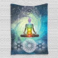 Wholesale Statue Home Decor - Wall Hanging India Mandala Tapestry Home Art Decor Printed Buddha Statue Tapestry Fabric Polyester Wallpaper Cloth Dorm Cover 148X200CM