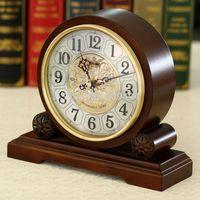 Wholesale Quartz Chime Clock - Wholesale-Wellington Music Hourly Chiming High Quality Table Clock Europe Antique Wooden Mute Quartz Desktop Clock
