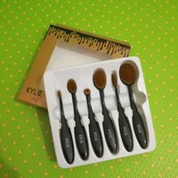 Wholesale Goat Black - New Brush HOT Kylie Oval Makeup Brush Cosmetic Foundation BB Cream Powder Blush 6 pieces Makeup brush set 6pcs set Tools DHL shipping