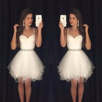 Wholesale White Crystal Puffy Cocktail Dress - Sweetheart Prom Dresses Puffy Short White Spaghetti Straps Beaded Crystals Ruffles Graduation Party Dress Cheap Cocktail Dresses 2017