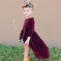 Wholesale Unique Kids Clothes - European Fashion Kids Autumn Clothing 2017 Baby Girl Unique Short Front Long Back Dress Pleuche Burgundy Dresses For 1-3T