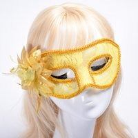 Wholesale Semi Transparent Dresses - Best gift Fancy Dresses Cloths Feathers Feathers Semi-transparent Lace Side Flowers Halloween Mask PH025 mix order as your needs