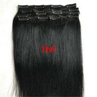 Wholesale Cheap Black Hair Clips - cheap 8A virgin Indian straight clip in human hair extensions remy human hair clip on weave color 1b black