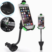 Wholesale Dual Car Mount - HC84K Car Phone Holder with Dual USB Charger Mount Stand for Iphone 7 6 6 plus Samsung Galaxy S8 plus With Opp Bag