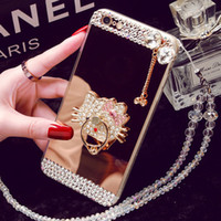 Wholesale Gel Mobile Phone Covers - For HUAWEI P9 P8 P9plus p10 mate 8 P8lite mate 9 Mirror Silica gel phone case Lanyard Rhinestone Creative mobile phone cover