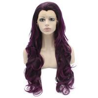 выдвинутые на первый план парики шнурка оптовых-Длинные Волнистые Фиолетовый Выделить Коричневый Синтетический Парик Фронта Шнурка Естественно