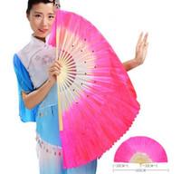 ventiladores da barriga de seda venda por atacado-Hot Festive chinês dança de seda fãs feitos à mão adereços de dança do ventre 5 cores