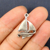 Wholesale Pendant Connector Bronze - 70pcs-Antique Bronze   Silver Sailboat Charms Pendant For Bracelets Necklace Best Gifts For Lovely Connector DIY Jewelry Making