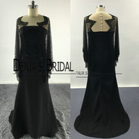 Wholesale Illusion Neckline Prom Dress Beaded - 2017 Prom Dresses Black Sheath Sheer Crew Tulle Neckline Waved Beaded Cape Floor Length Sweep Train Evening Gowns