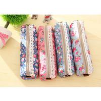 lápices de plumas de encaje al por mayor-Cute Kawaii Floral Canvas Zipper Pencil Case Fabric Vintage Dot Lace Pen Bag para niños niñas útiles escolares