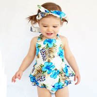 Wholesale Baby Girl Dress 3pcs - 2017 New baby INS flower Rompers Girl Cotton Flower dress +Hair band+PP pants 3pcs sets baby clothes 0-3years B001
