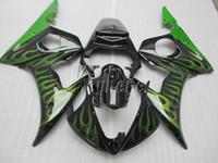 Wholesale moto fairings set for sale - Group buy New hot moto parts fairing kit for YAMAHA R6 green flames black fairings set YZF R6 IY33