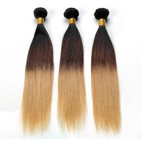 Ombre Straight Cabelo Humano Weave Peruvian Straight Virgin Hair Two Tone 1B / 27 # Ompart barato extensões de cabelo Frete Grátis
