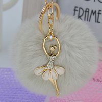 Wholesale Little Girls Cute Bags - New Arrival 22 Colors Cute Genuine Leather Rabbit Fur Ball Plush Key Chain With Little Angel For Car Key Ring Bag Pendant Keychain