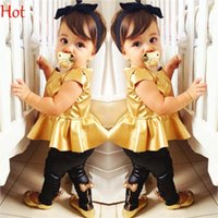 Wholesale Kids Leggings Sale - Baby Girl Suit Pleated Shirt Dress Bowknot Leggings Pants Casual Short Sleeved Blouses 2 Pieces Sets Kids Leather Outfits Hot Sale SV006880