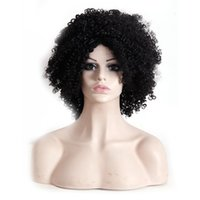 Wholesale Synthetic Afro Wigs - Afro Kinky Curly hair wigs synthetic Heat Resistant wig 16inch black for African American women wigs
