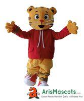 Wholesale real fur suits - 100% real photos Aduit Size Daniel Tiger mascot costume Fur mascot Cartoon Character mascot suit