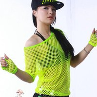 Wholesale Neon Outerwear - Wholesale-#3368 2015 Summer Neon t shirts Hip hop Women Mesh top Outerwear Stage dancewear women Neon clothes Sexy Fashion Punk