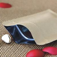 sac de papier d'aluminium achat en gros de-6 * 8 cm alimentaire étanche à l'humidité sacs papier kraft avec doublure en aluminium feuille tenir jusqu'à poche sac d'emballage ziplock pour les fournitures de fête de bonbons