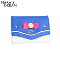 Wholesale Moon Wallet - Wholesale- Mara's Dream 2017 Sailor Moon Wallet Women Lady Short Wallets Female Candy Color Bow PU Leather for Card Purse Clutch Bag New