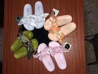 Wholesale Lady Sandal Slippers Shoes - Leadcat Fenty Rihanna Shoes slippers for women With Original Box Dust bag 2017 Fashion ladies summer bowtie Slide Sandals flip flops