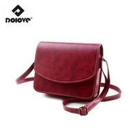 Wholesale Waxed Nylon - Wholesale- DOLOVE 2016 Mini Women Bags Oil Wax PU Leather Women Messenger Bags Small Fashion Shoulder Bag Handbags