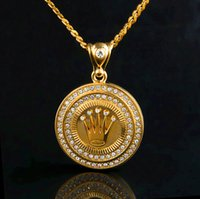 Wholesale Crown Necklace For Women Gold - Hip Hop Crown Necklaces For Mens And Women High Quality Pop Gem Pendant Jewelries 18K Gold Plated Hiphop Luxury Accessories