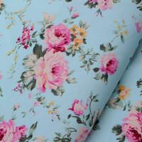 Wholesale Cotton Poplin Fabrics - Half Meter Hot Sale Light blue roses 100% cotton fabric Width 145cm wholesale poplin fabric country rose blue