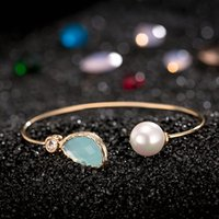 Wholesale Teardrop Bras - Elegant Lady Brand Design Fashion Jewelry Girl Cuff Bracelet Gold Metal Bracelets Glass Teardrop With Simulated Pearl Separable Bracelet Bra