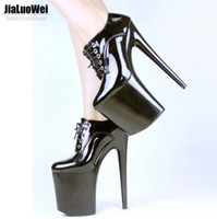 Wholesale Leather Sexual - Free Shipping 2017 Stage shows Womens Nightclubs High 20CM Spike Heels Platform Stiletto Shoes Lace-Up Sexual Fetish Dance Party pumps black