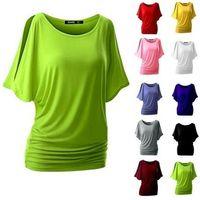 camisetas de murciélagos redondos al por mayor-S-5XL Nueva camiseta de algodón más el tamaño de las mujeres Tops calientes Camiseta de cuello redondo manga murciélago camiseta Casual camisa