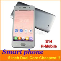 Wholesale H Ebook - Cheap 5 inch Android Smart phone Dual Core MTK6572 854*480 Screen Dual SIM camera 2MP 2G GSM Unlocked Mobile phone + Free case H-Mobile S14