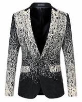 men s leopard jacket 2018 - Wholesale- Male Fashion Vintage Floral Printed Grey Blazer Men jacket outerwear Luxury Gradient Leopard Dress Clothing Fancy Suit,M-XXXXXL
