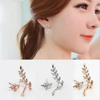 Wholesale Needle Sterling - Europe and the United States 925 sterling silver needles with the leaves section of zirconia micro-set asymmetric earrings earrings jewelry